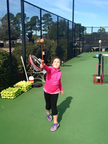 Children tennis players using ServeMaster